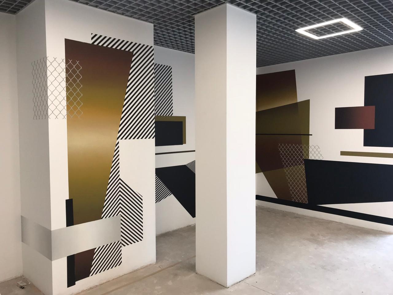 Роспись стен геометрическими фигурами
