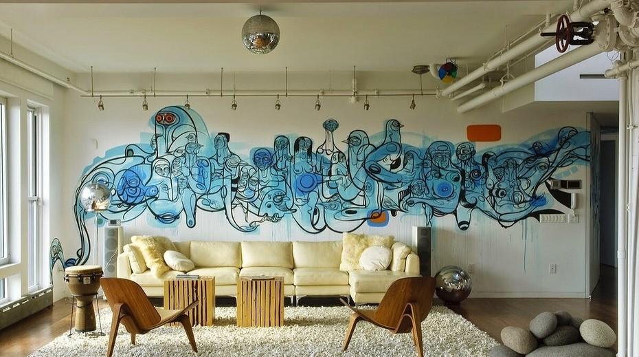 Граффити на стене в комнате